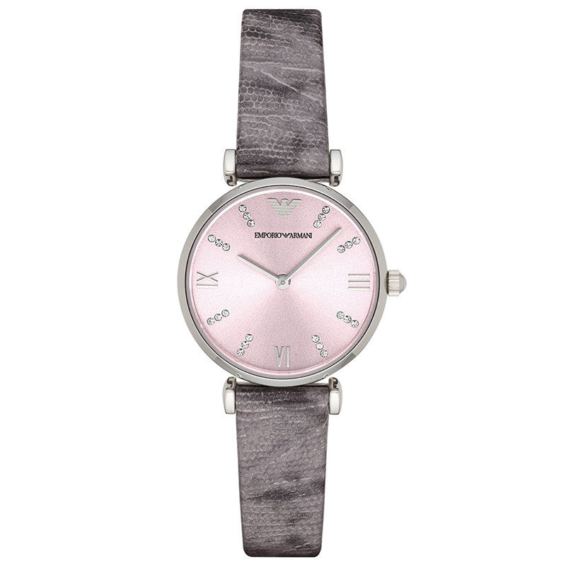 Classic Pink Dial Grey Lizard-embossed Leather