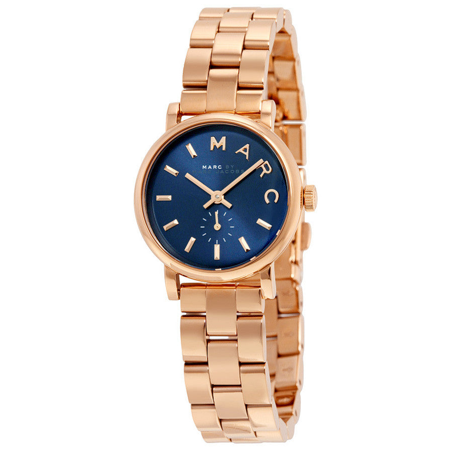 Baker Navy Dial Rose Gold-plated Ladies Watch