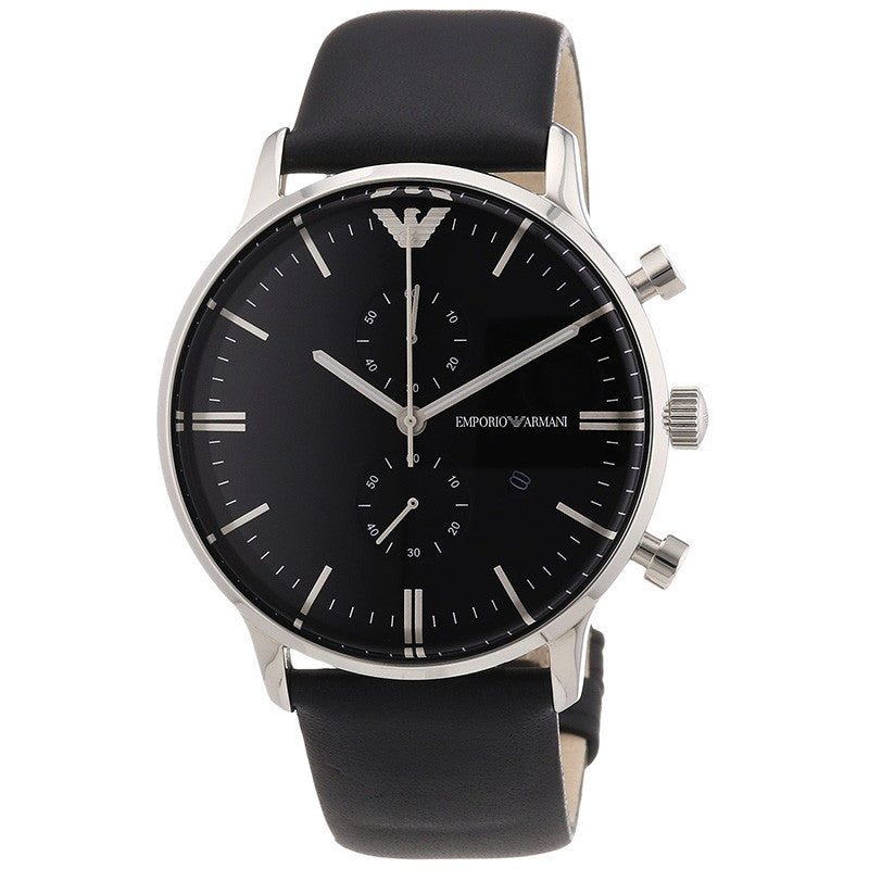 Emporio Classic Chronograph Black Dial Black Leather Men's Watch