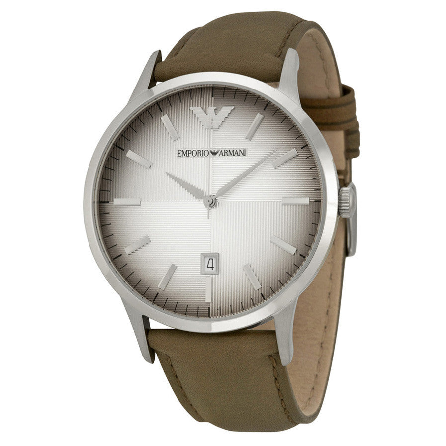 Classic Textured Degrade Dial Taupe Leather Men's Watch