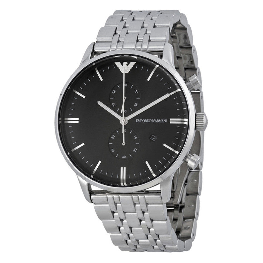 Emporio Classic Chronograph Black Dial Stainless Steel Men's Watch