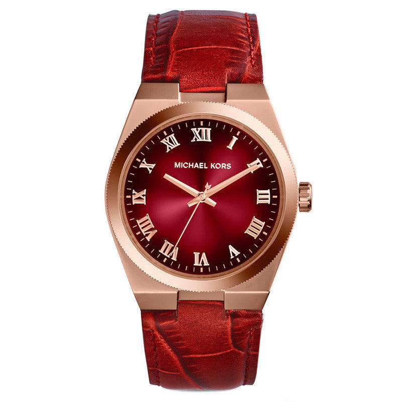 Channing Red Dial Red Leather Unisex Watch