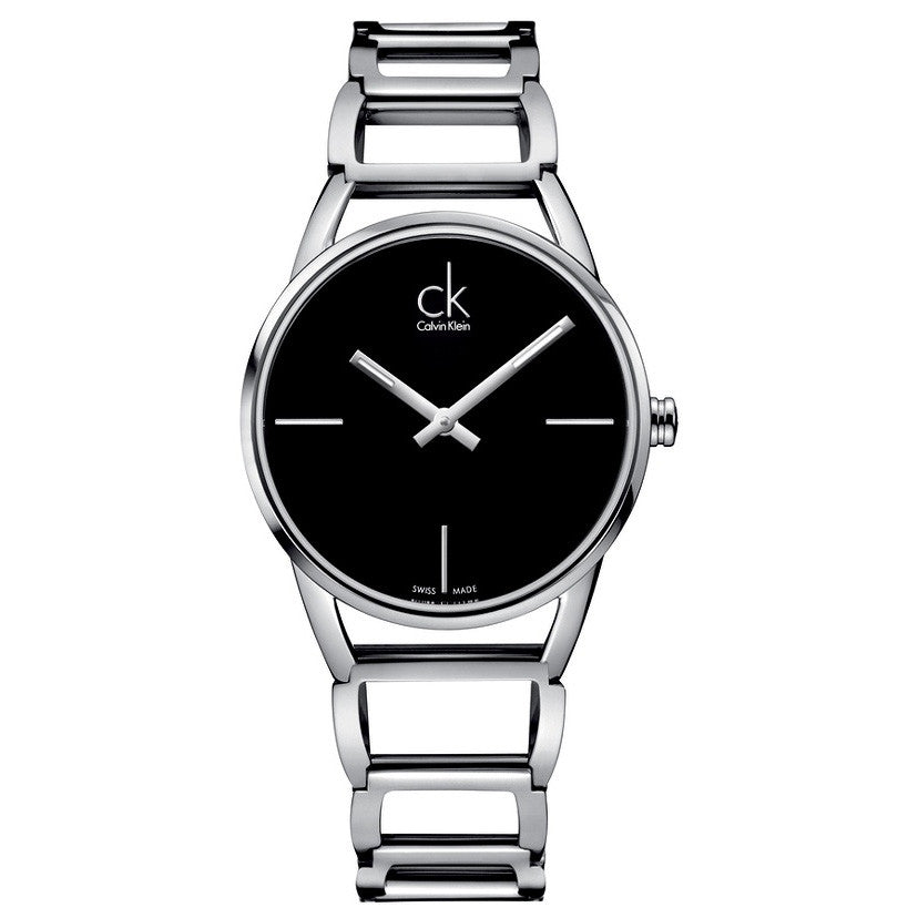 Stately Black Dial Stainless Steel Ladies' Watch