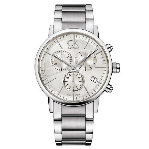 Post Minimal Chronograph White Stainless Steel Men's Watch