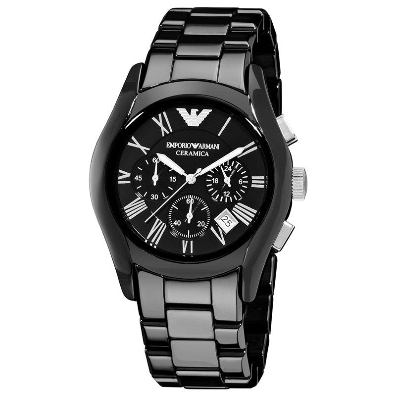 Chronograph Black Dial Black Ceramic Men's Watch