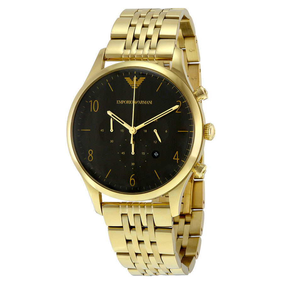 Classic Black Dial Gold-tone Stainless Steel Men's Watch