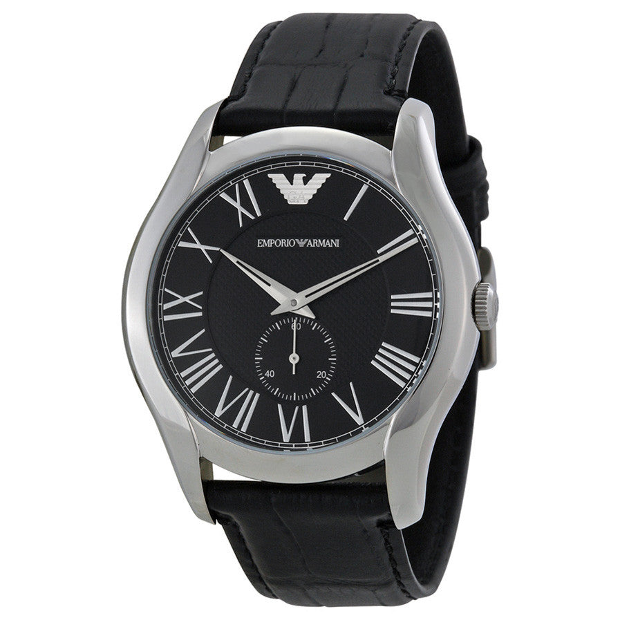 Classic Black Dial Black Leather Strap Men's Watch
