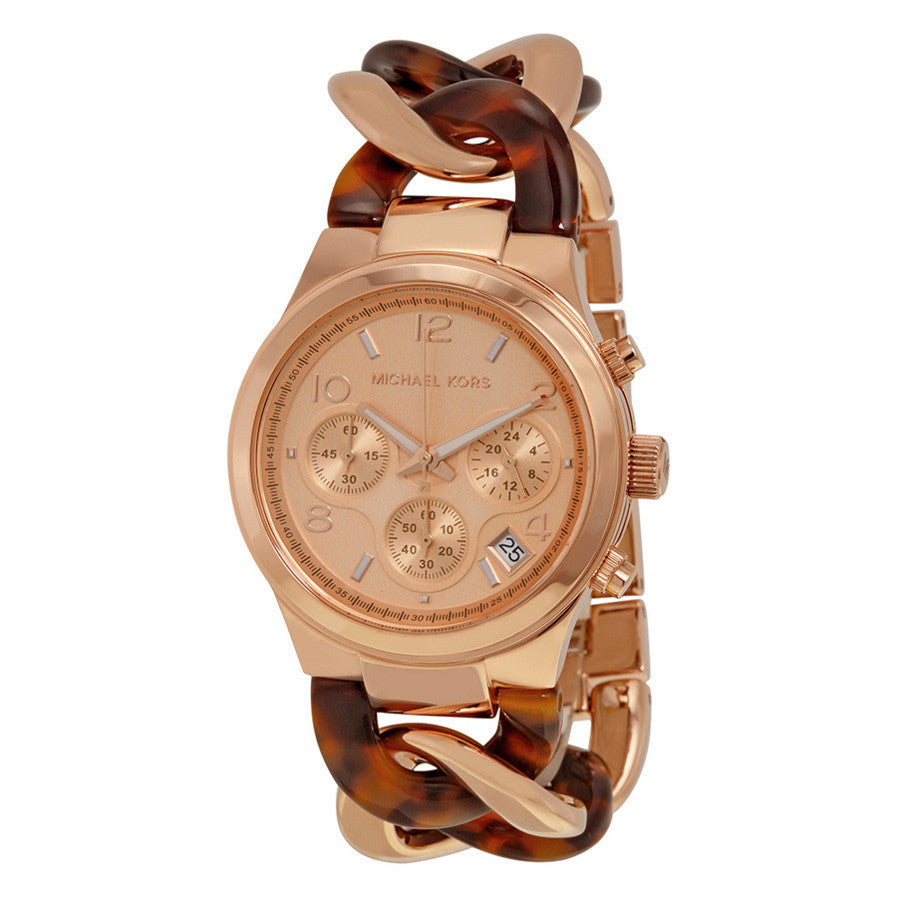 Runway Rose Gold-tone Tortoise Twist Chain Link Ladies Watch