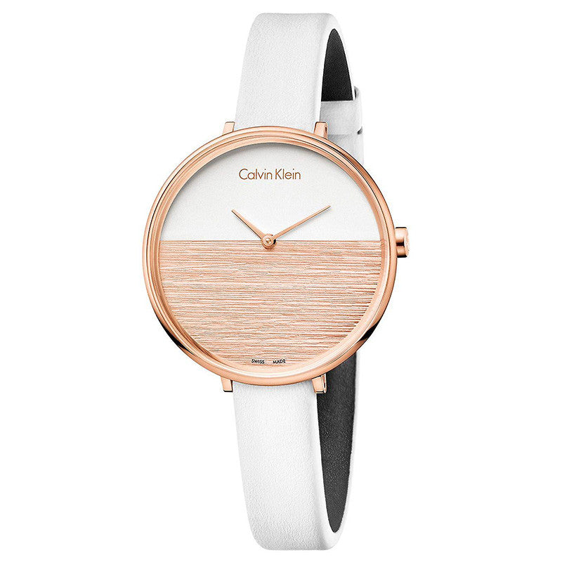 Rise Two-tone Dial White Leather Strap Ladies' Watch
