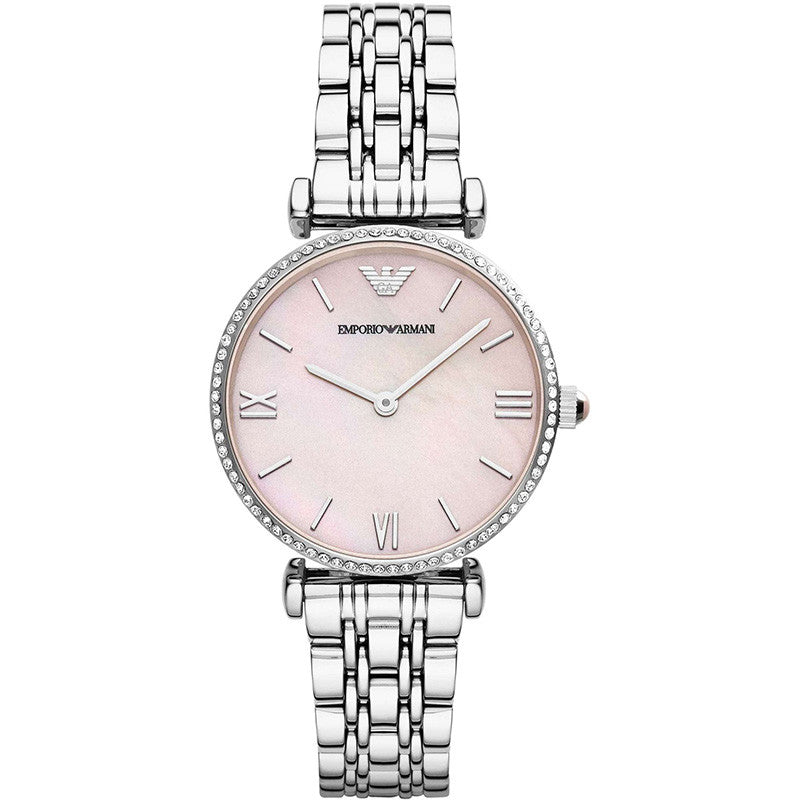 Emporio Pink Mother of Pearl Dial Stainless Steel Ladies Watch