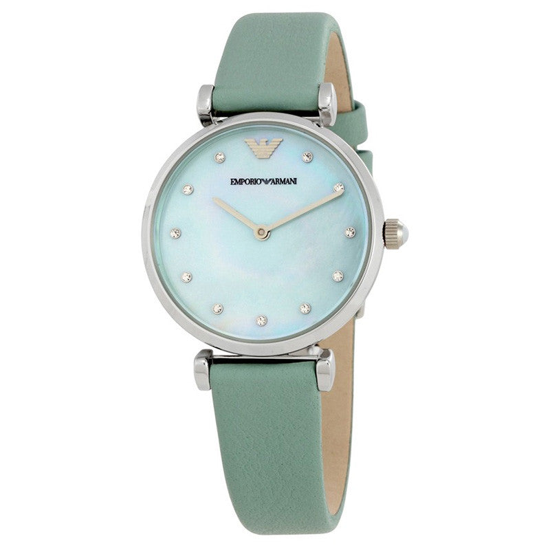 Retro Sea Blue Mother Of Pearl Dial Ladies Watch