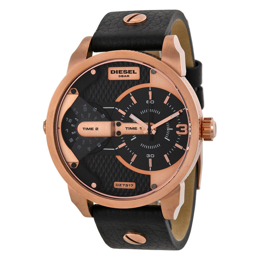 Mini Daddy Black Dual Time Dial Black Ion-plated Men's Watch