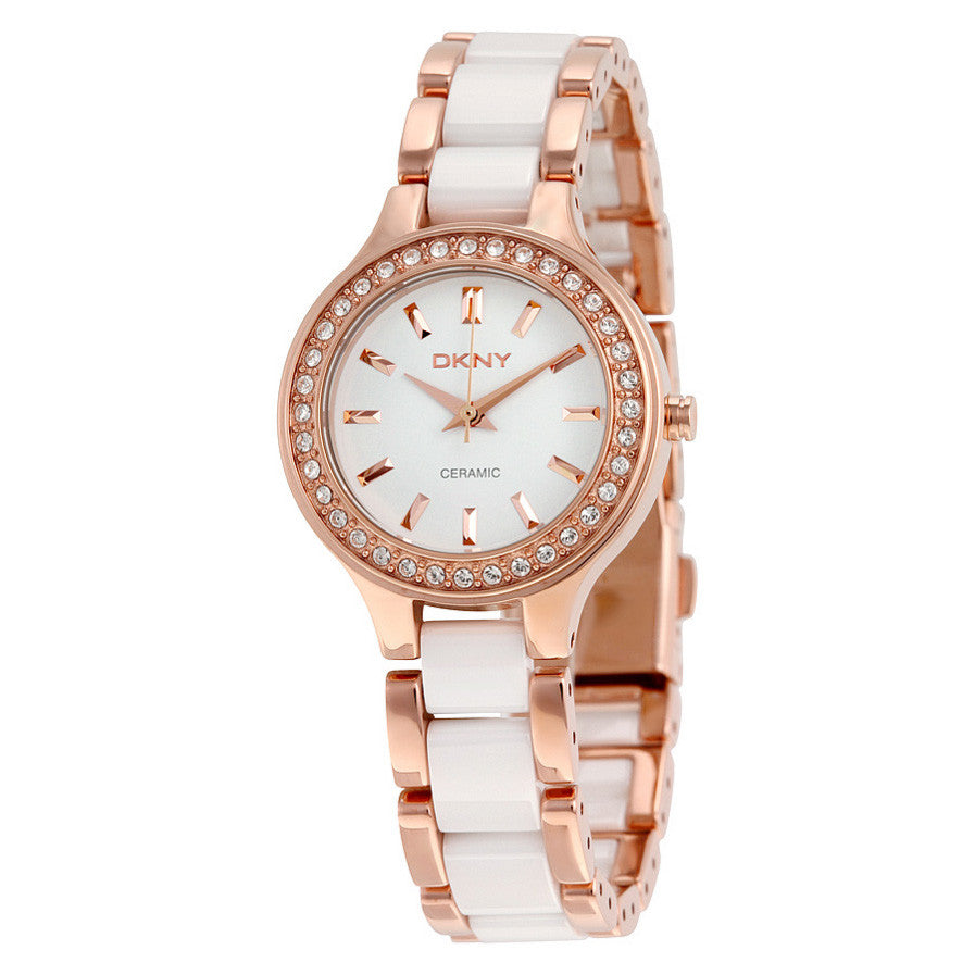 White Dial Rose Gold Steel and White Ceramic Ladies Watch