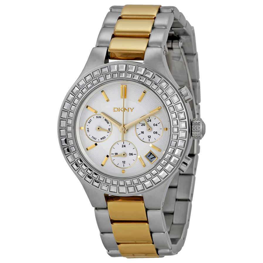 Chambers Chronograph White Pearlized Dial Two-tone Ladies Watch