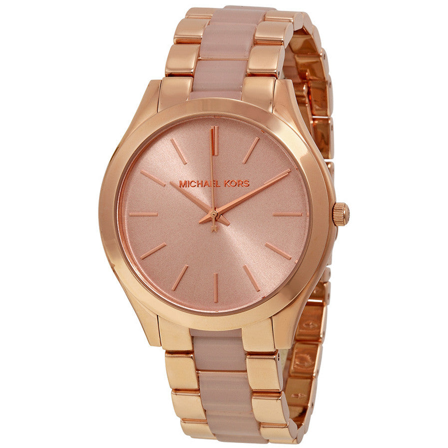 Slim Runway Rose Dial Rose Gold-tone Ladies Watch