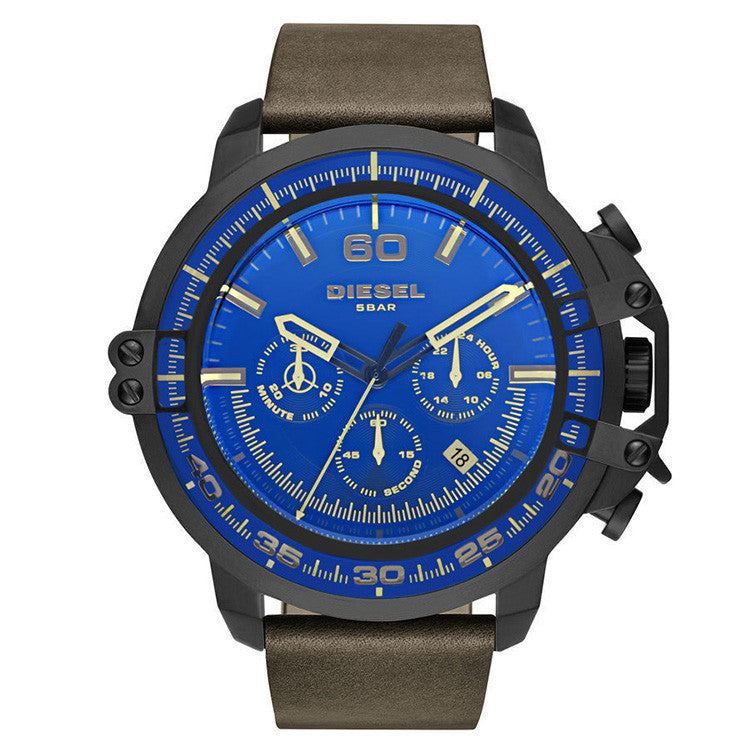 Deadeye Chronograph Blue Dial Brown Leather Men's Watch