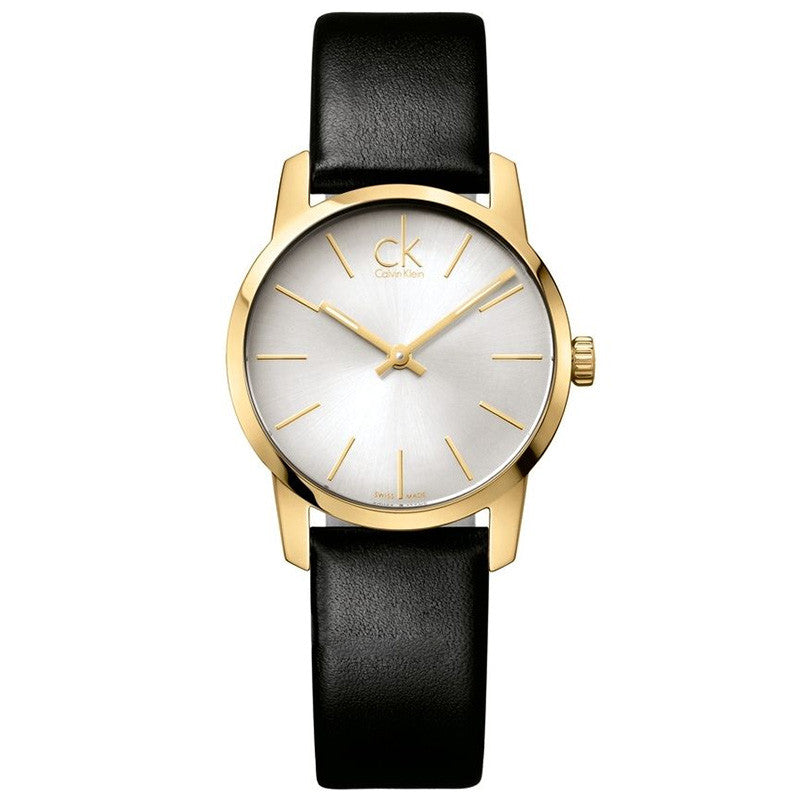 City Silver Dial Black Leather Ladies' Watch