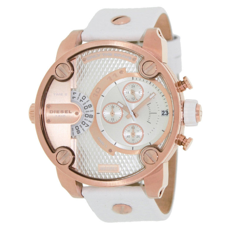 Little Daddy Chronograph Rose Gold-tone White Leather Men's Watch