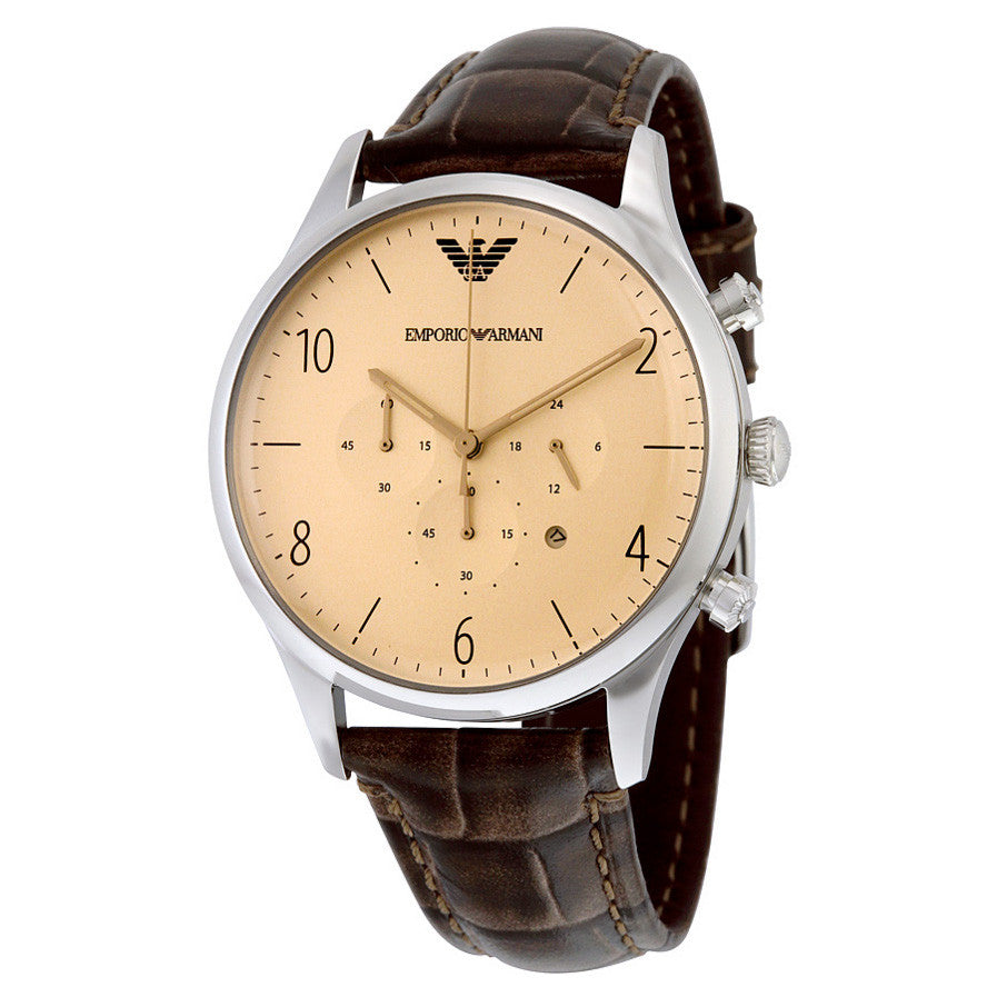 Classic Cream Dial Brown Crocodile Leather Chronograph Men's Watch
