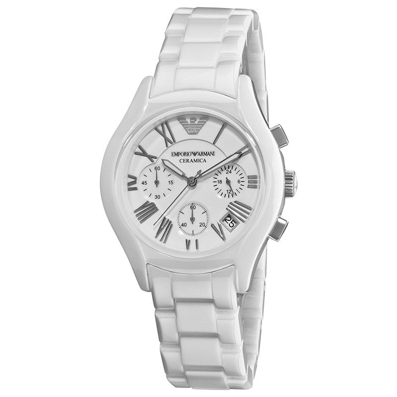 Ceramica Chronograph White Dial White Ceramic Ladies' Watch