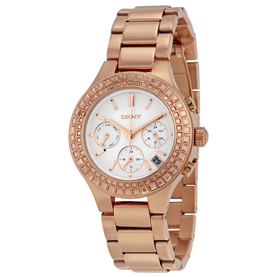 Chambers White Dial Rose Gold-plated Ladies Watch