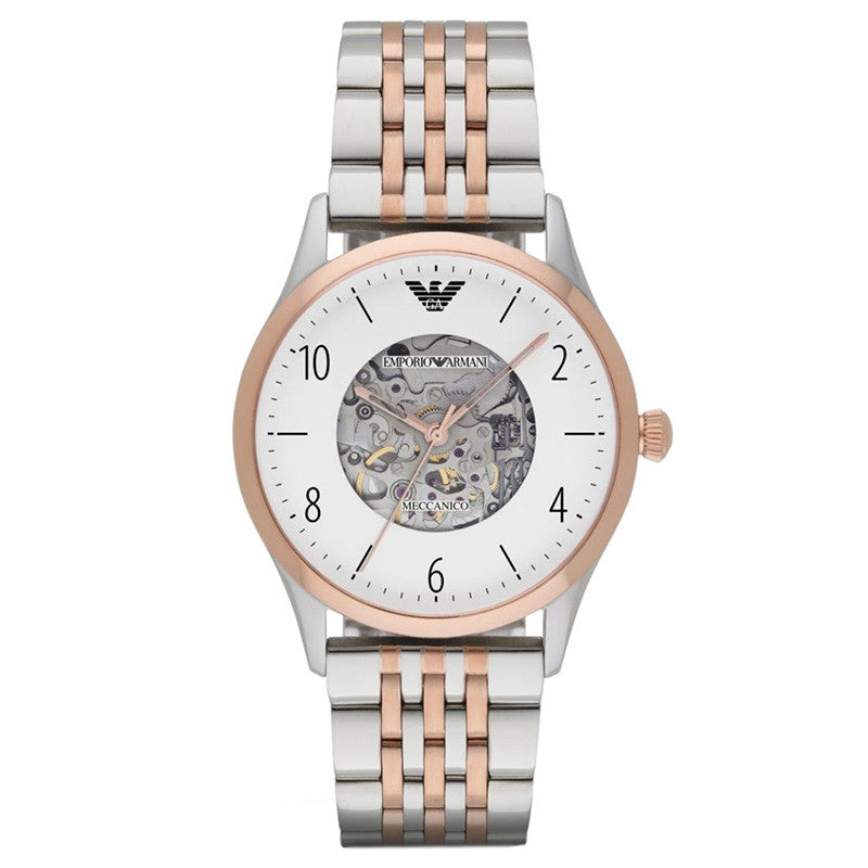 Meccanico Dress White Dial  Two-tone Stainless Steel Men's Watch