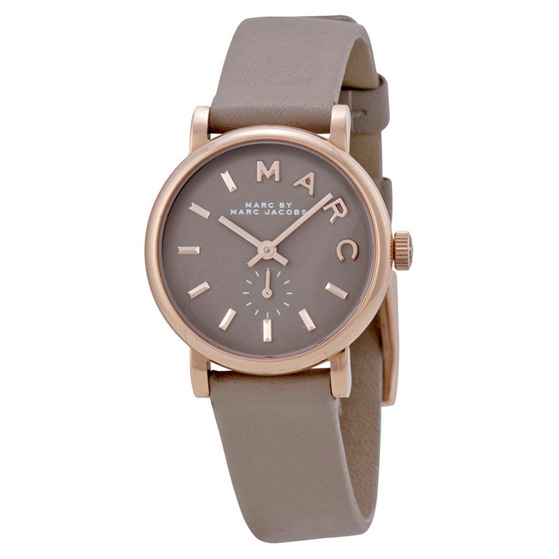 Baker Grey Dial Gravel Gray Leather Ladies Watch