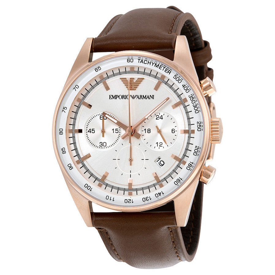 Chronograph Silver Dial Brown Leather Men's Watch