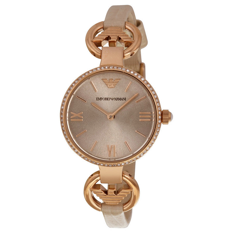 Emporio Classic Silver Sunray Dial Nude Leather Ladies Watch