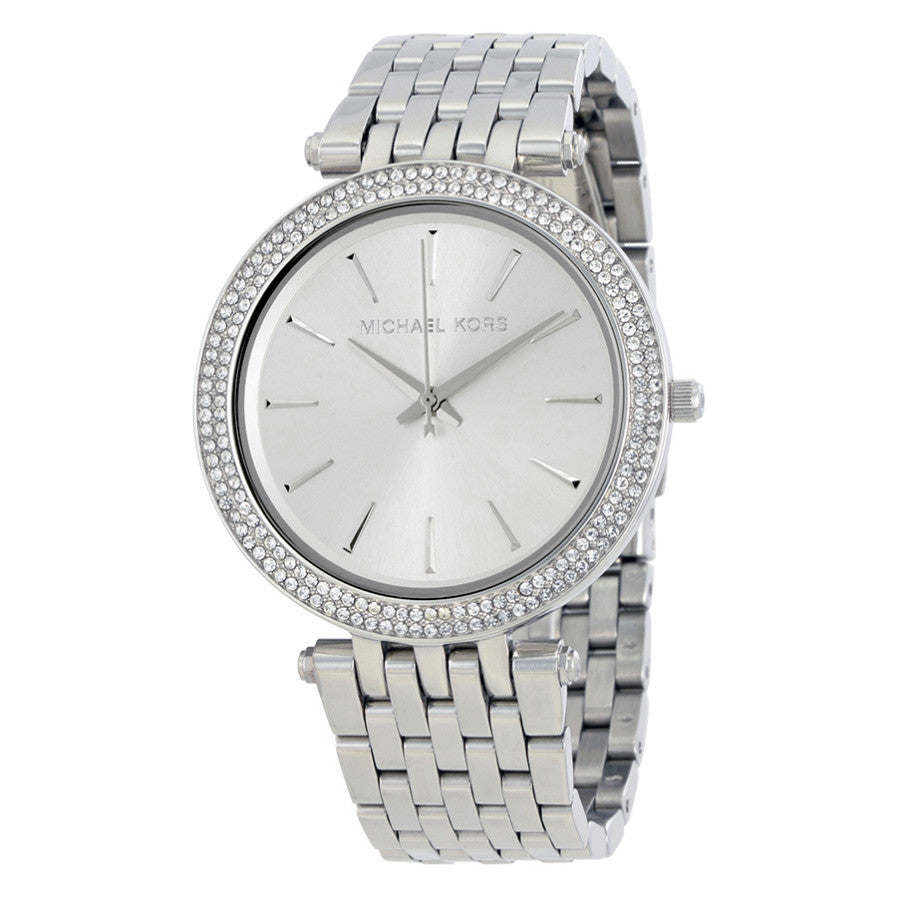 Darci Silver Dial Pave Bezel Ladies Watch