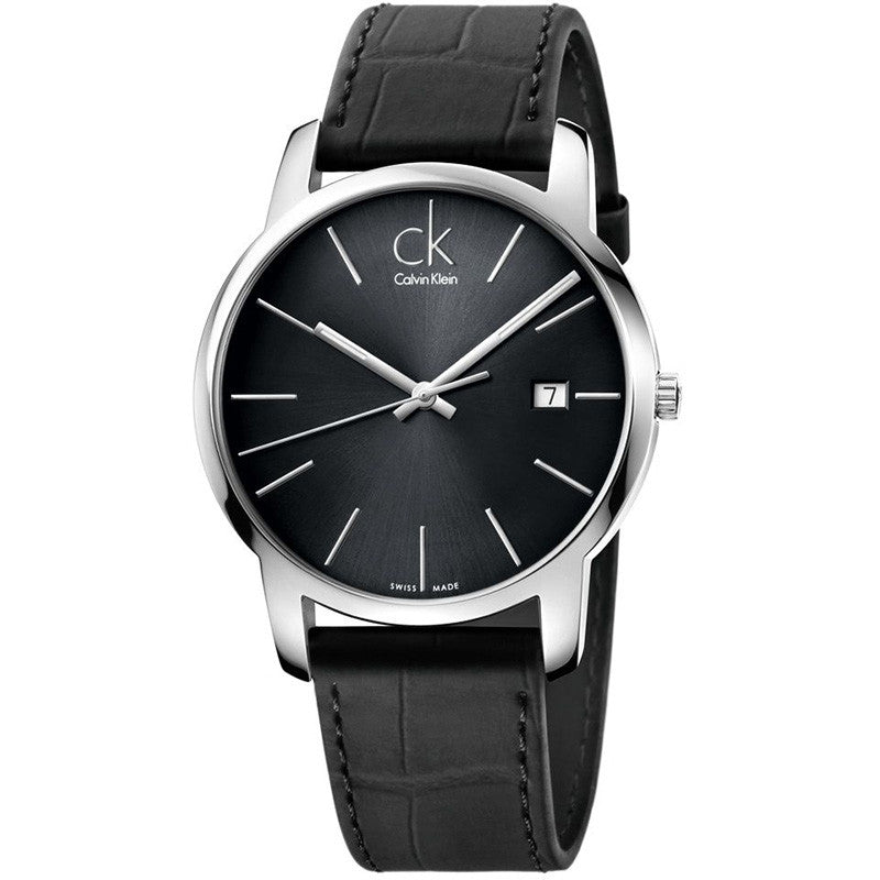City Date Black Leather Men's Watch