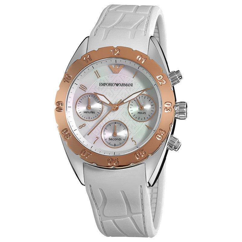 Emporio Sports Chronograph Silver Dial White Ladies' Watch