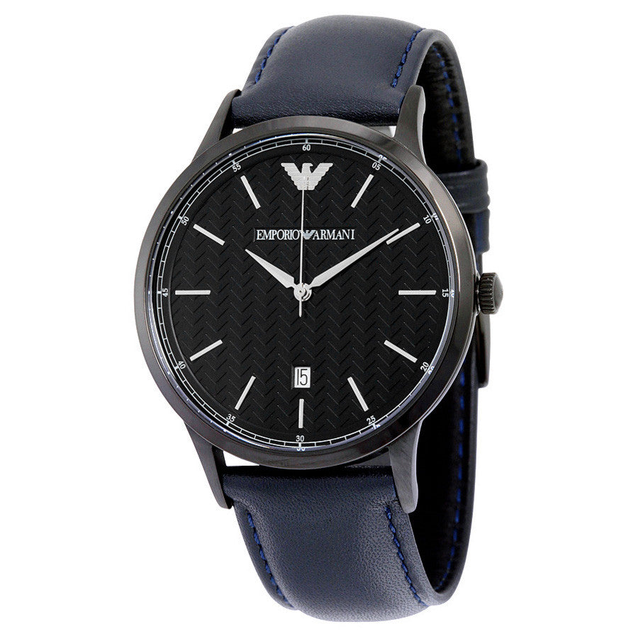 Black Dial Blue Leather Men's Watch