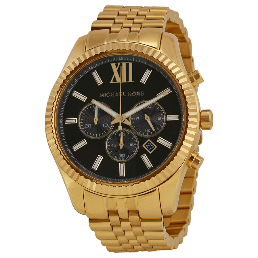Lexington Chronograph Black Dial Gold-tone Men's Watch