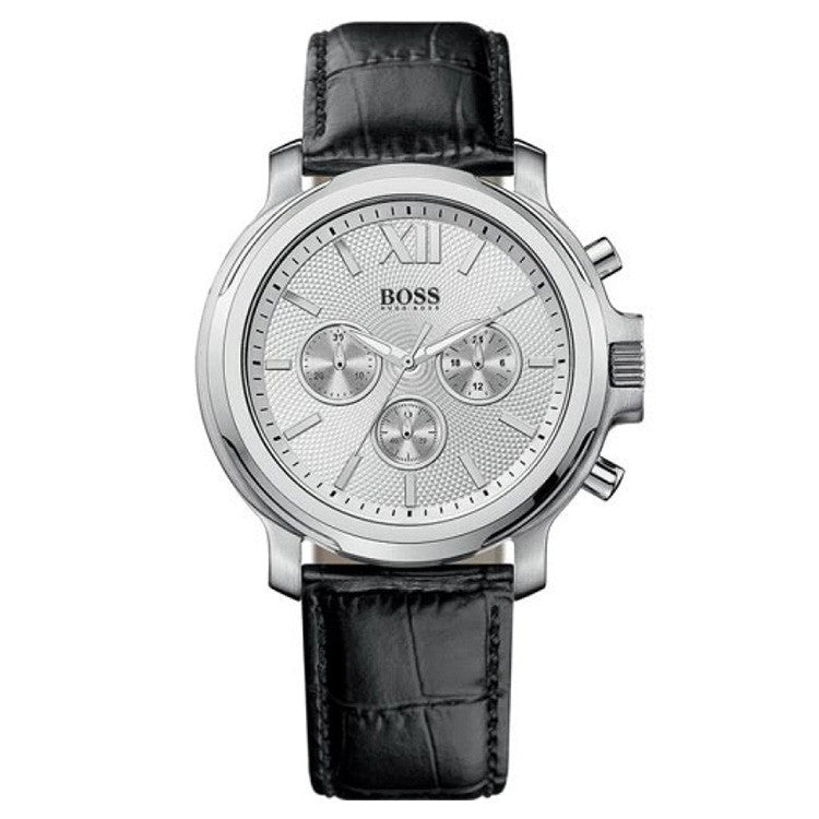 Chronograph Stainless Steel Black Leather Ladies Watch