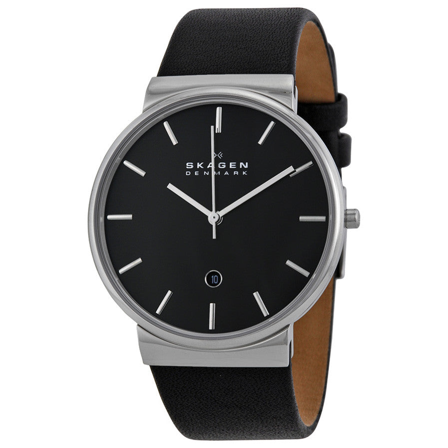 Ancher Black Dial Black Leather Men's Watch