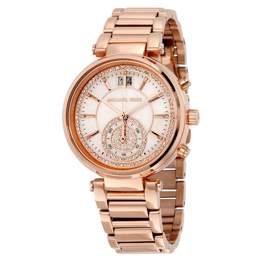 Sawyer Mother of Pearl Crystal Pave Dial Rose Gold-Tone Ladies Watch