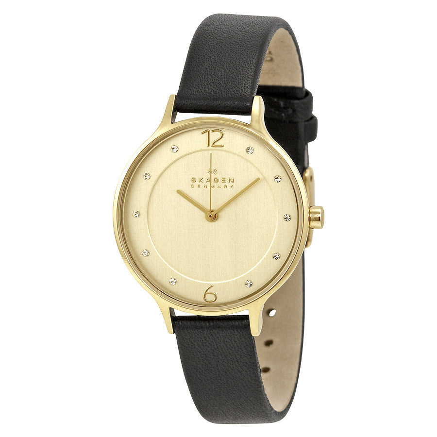 Anita Gold Dial Black Leather Ladies Watch