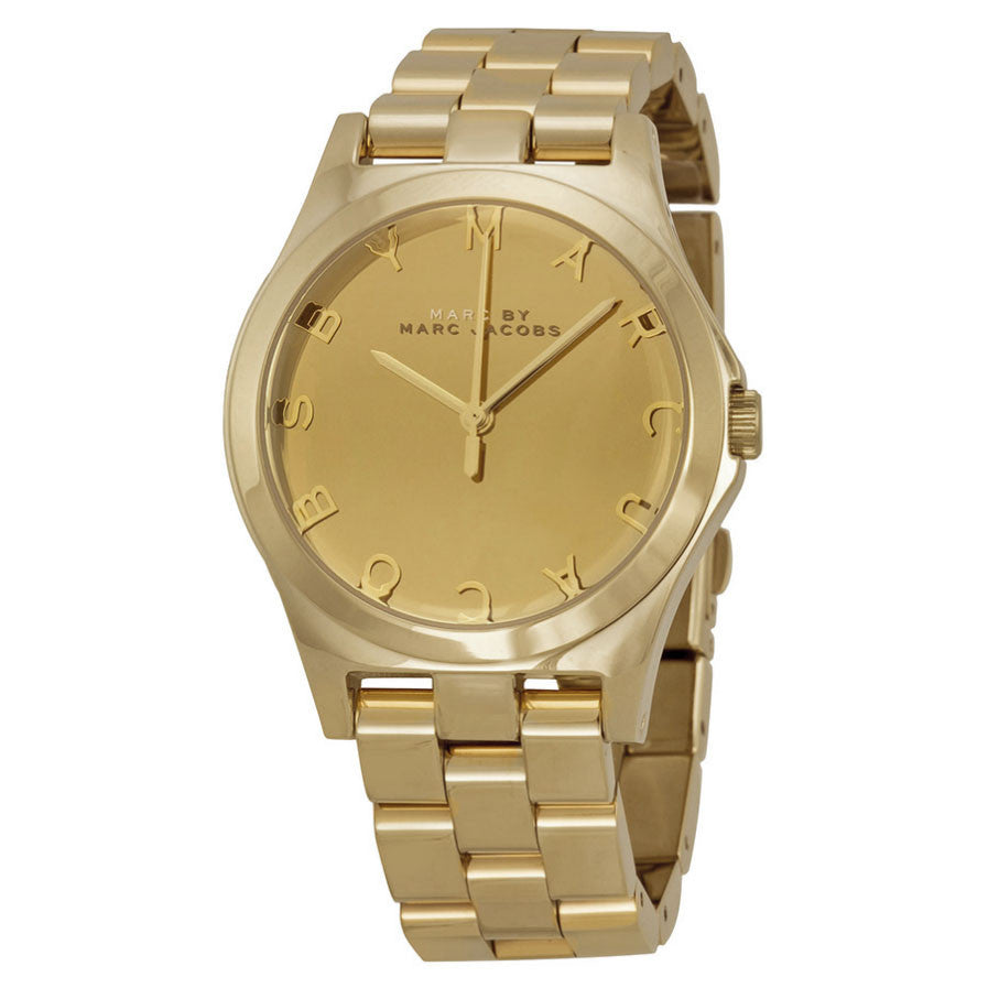 Marc Jacobs Henry Glossy Gold Dial Gold-Tone Stainless Steel Ladies Watch