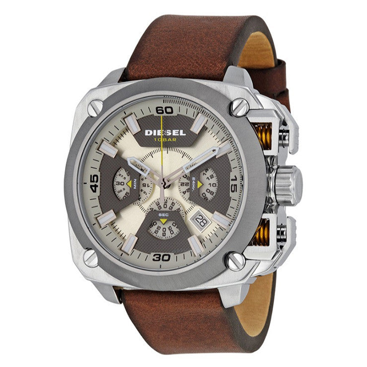 BAMF Beige and Grey Dial Brown Leather Men's Watch