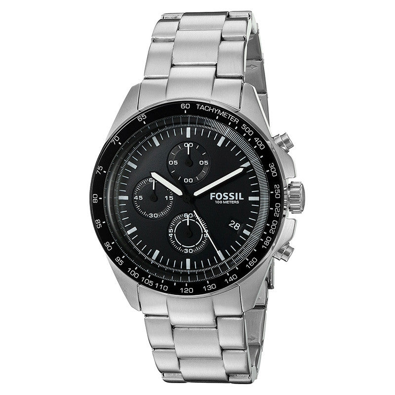 Sport Chronograph Black Dial Stainless Steel Men's Watch