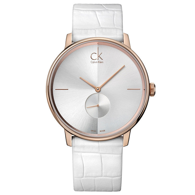 Accent Rose Gold Tone White Leather Unisex Watch