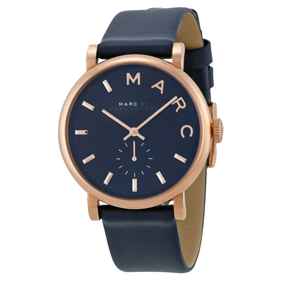 Baker Navy Dial Navy Leather Ladies Watch