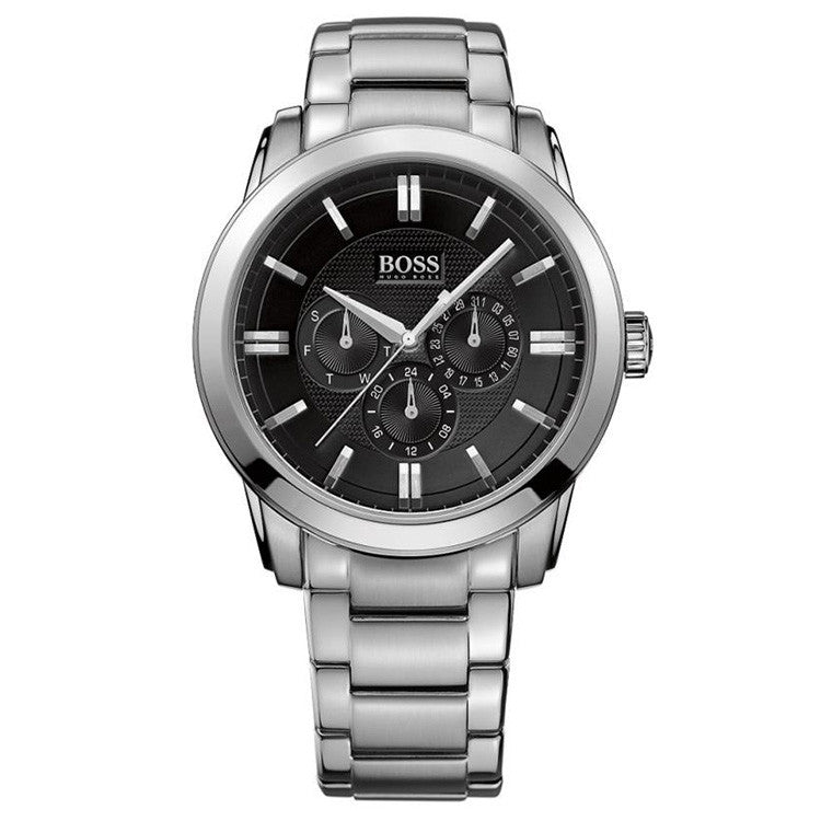 Multi-Function Black Dial Stainless Steel Men's Watch