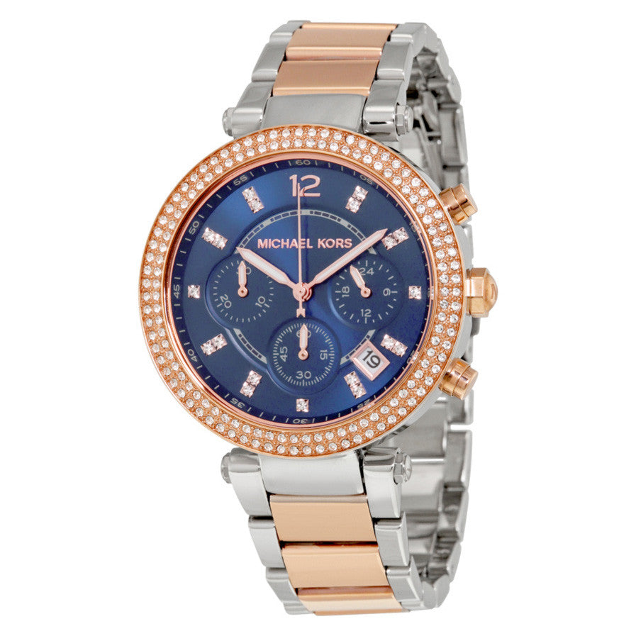Parker Chronograph Blue Dial Two-tone Ladies Watch