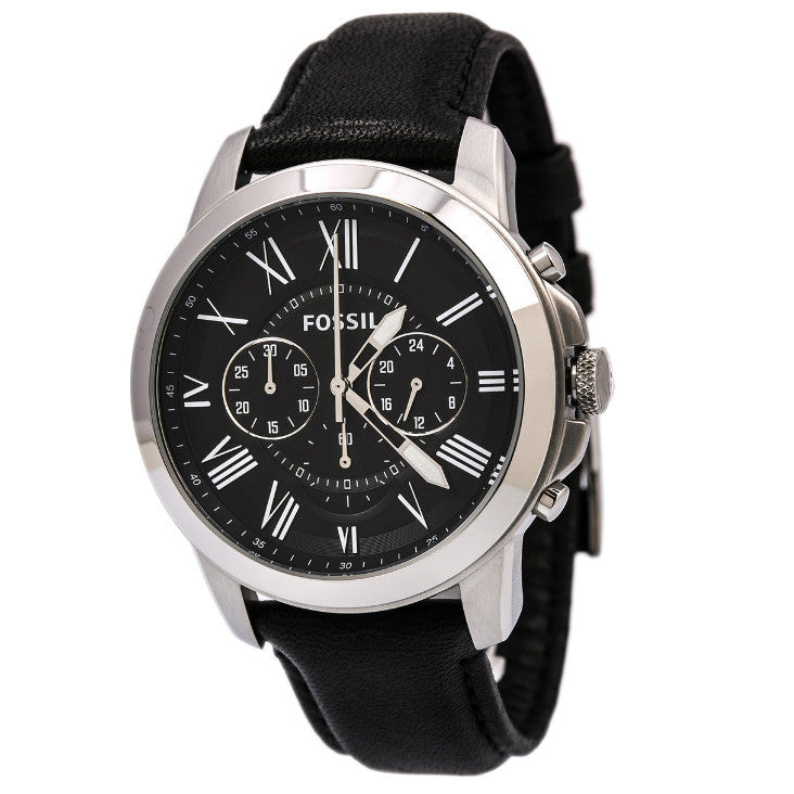 a61820bf6 Fossil FS4812 Grant Chronograph Black Dial Black Leather Men's Watch ...