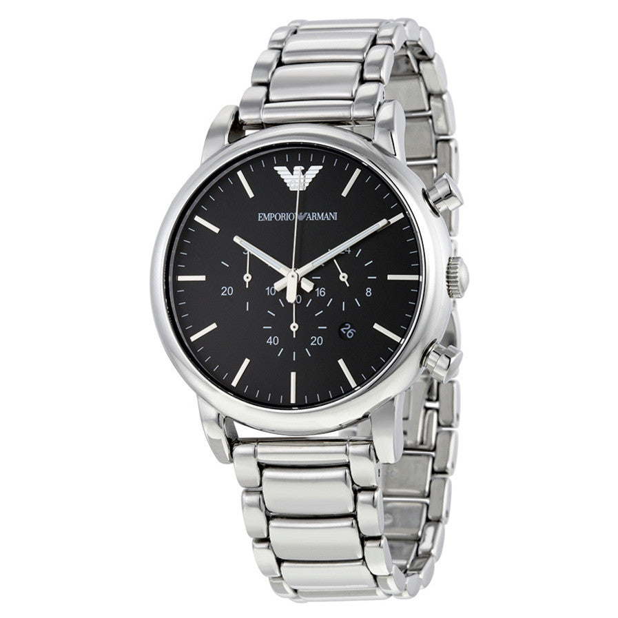 Classic Black Dial Stainless Steel Chronograph Men's Watch
