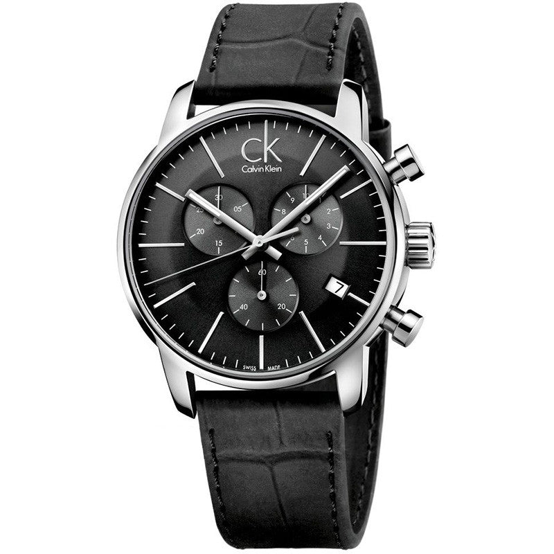 City Chronograph Black Leather Men's Watch