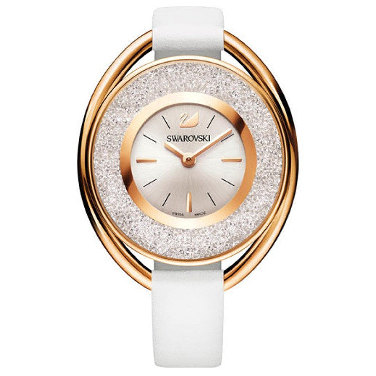 Crystalline Rose Gold-tone White Leather Strap Ladies Watch
