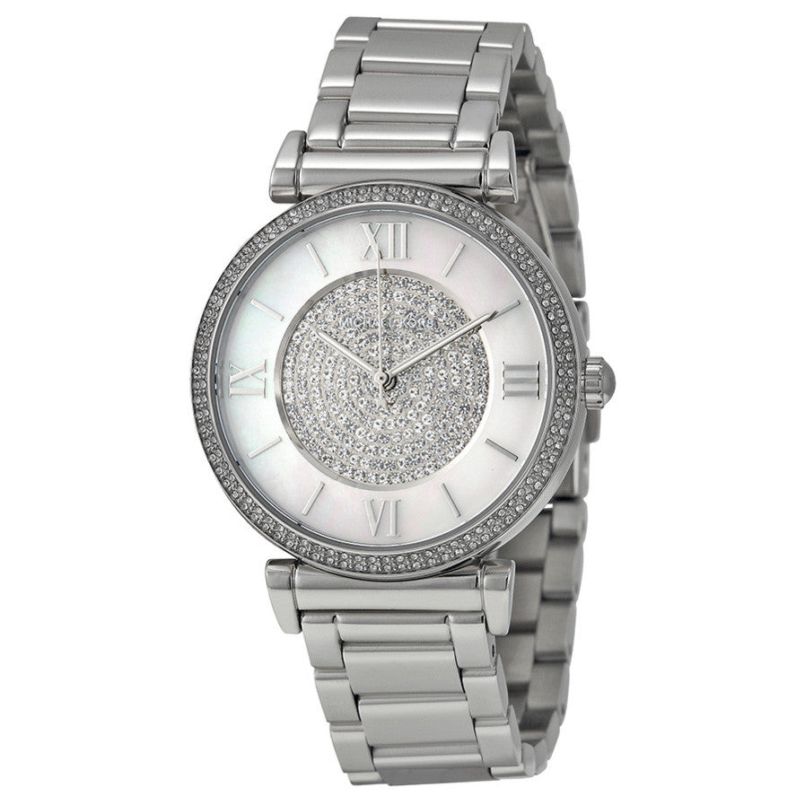 Caitlin Silver Crystal Pave Dial Ladies Watch